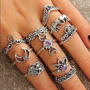 Jewelry - 10 pc set knuckle boho rings